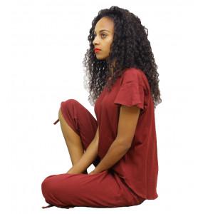 Markon_ Cotton Women's Pyjama Set Sleepwear Tops with Capri Pants