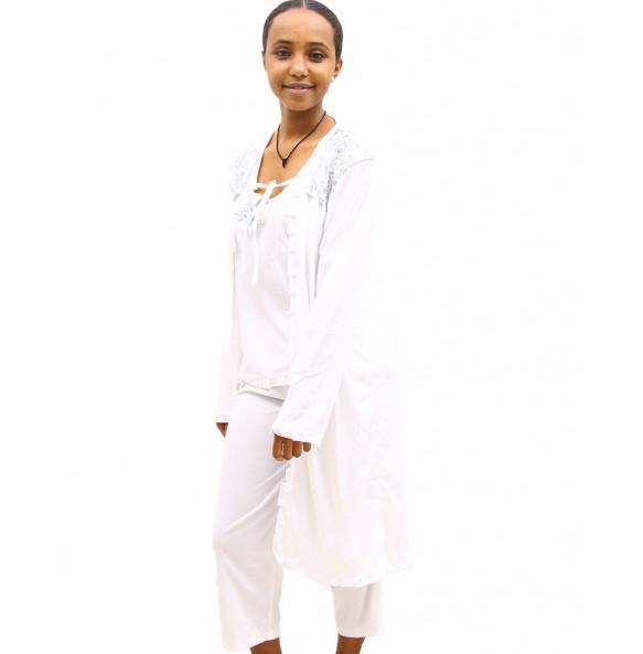 Markon Women's Long Sleeve Nightgown Pajama 3 Piece Set Nightwear