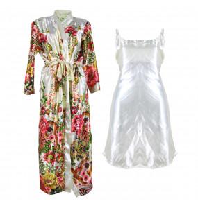 Markon_ 2 Piece Satin Silk Nightgown Set