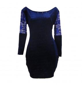 Markon Women's Soft Velvet Off Shoulder Dress