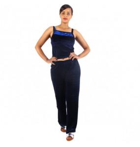 Markon_  Women's Velvet Sleeve less Top & Full elastic Pants 2Piece set