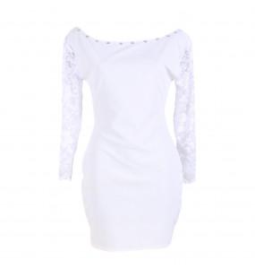 Markon Women's White Soft Long Sleeved Dress