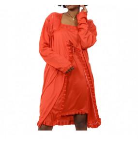 Markon Women's Long Sleeve Nightgown Pajama Tow Piece Set Nightwear