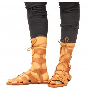 Senayit_ Genuine Leather High Tie Up Women's Open Shoe