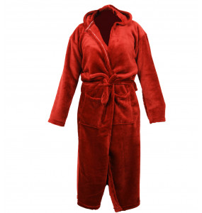 Kalu_ Adult's Terry Cloth Robe, Thick Hooded Bathrobe