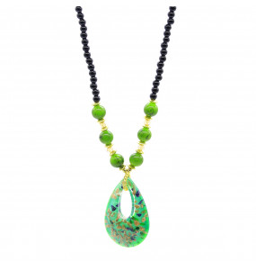 Bead Made Drop Pear Shape Pendant Necklaces