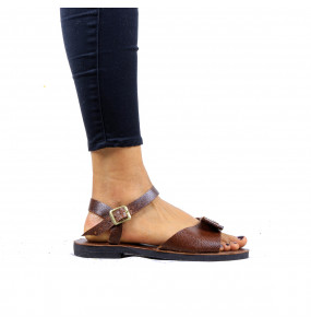 Kebrom_Women's open toe Genuine  Leather sandal with Ankle Strap Sandel