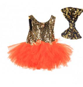 Etaferahu_ Kids girls mesh sleeveless  Ballet tutu skirt