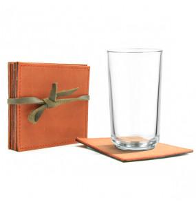 Kabana pure leather Non Slip Reusable  Cup/ Table Coasters 6pcs/ Set