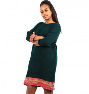 Ethiopia_ 100% Thread Made Stylish Women's Long- Sleeve Dress