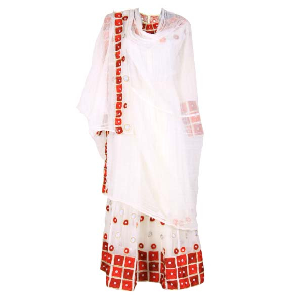 "Amanuel_WOMEN'S HANDMADE BEAUTIFUL TRADITIONAL DRESS  WITH FULL SIZE""NETELA"""