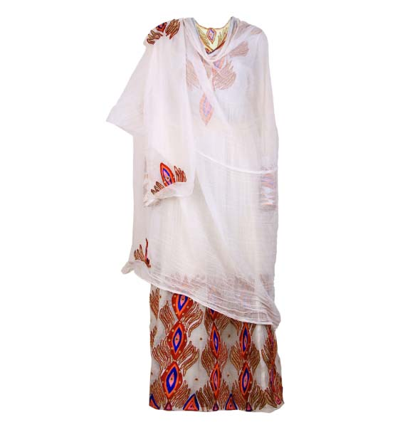 Amanuel_Hand Made Beautiful  Design Women's Traditional Dress With Full Size Netela