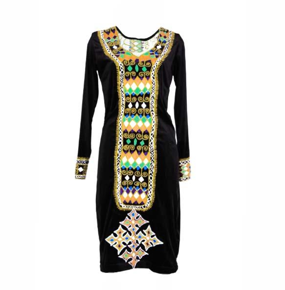 Amanuel_Women's Hand embroidered  Long Sleeve Velvet Dress
