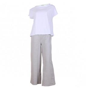 Hana_ Women's Soft Open Leg Fleece Sweatpants with  Sleeveless Crew Neck T Shirt Set