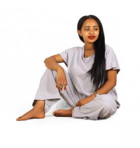 Hana_ Women's Open Bottom  Leg Fleece Sweatpants with  Sleeveless Crew Neck T- Shirt Set