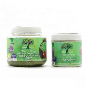 Pika Herbals Neem + Sugar Scrub & Pika Natural Anti - Fungal Pedi powder (Pack of 2)