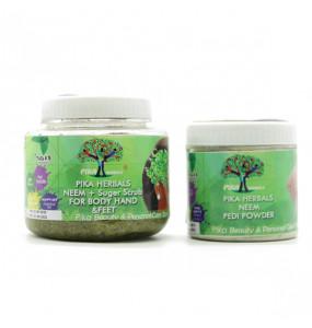 Pika Herbals Neem + Sugar Scrub & Pika Natural Anti - Fungal Pedi powder (Pack of 2)