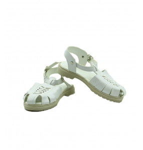 Feseha_ Genuine Leather White Kid's Open Shoe
