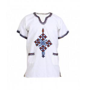 Haymanot_  Short Sleeve V- Neck Men's Traditional Shirt
