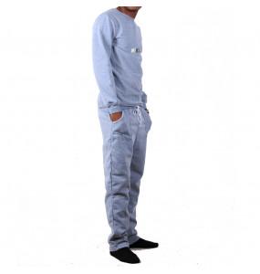 Etaferahu_ Men's Long-Sleeve Crew neck Fleece Sweatshirt and Pants  Set for Home Wear