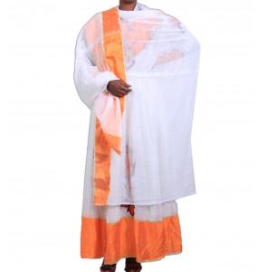 "MULU _ Hand Made Orange Color Women's  Beautiful traditional Dress with ""Netela"""