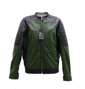 Abereham_Men's Black & Olive Green Real Leather Jacket