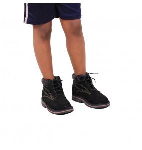 Dereje_ Black Velvet Kids Short Boots Shoe
