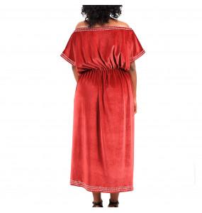 Mulu_ Off Shoulder Velvet Women's Dress