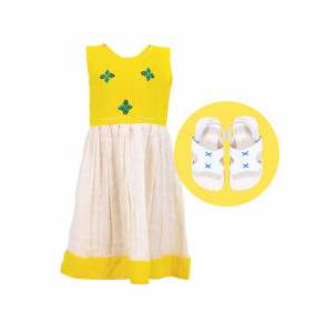 Kids Traditional Dress and Flat Open shoe 2 in 1