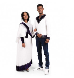 2 in 1 Traditional Women's  Dress and Men's  Long  Sleeve Top