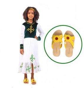 Kids Long Sleeve Dress and Flat Open shoe 2 in 1